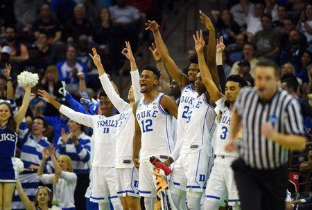 Mar 22, 2019; Columbia, SC, USA; The Duke Blue Devils bench reacts during the second half against the North Dakota State Bison in the first round of the 2019 NCAA Tournament at Colonial Life Arena. Mandatory Credit: Bob Donnan-USA TODAY Sports