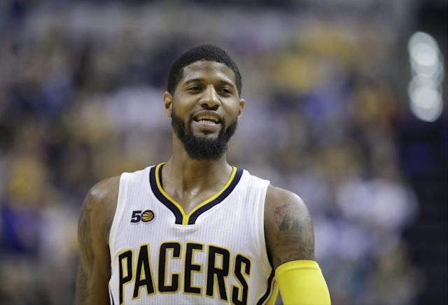 "<a class=""link rapid-noclick-resp"" href=""/nba/players/4725/"" data-ylk=""slk:Paul George"">Paul George</a> says he will become a free agent in 2018. (AP)"
