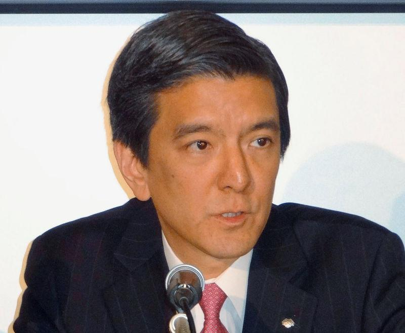 Kashiwagi, Chief Financial Officer of Nomura Holdings, attends a news conference at TSE in Tokyo, Japan, in this photo taken by Kyodo on April 26, 2013.
