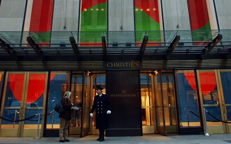 The entrance to Christie's auction house, pictured at Rockefeller Center in New York, in 2003