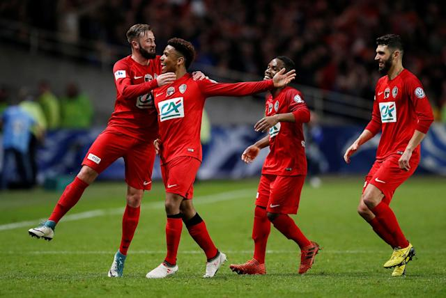 Soccer Football - Coupe de France - Les Herbiers VF vs FC Chambly - Stade de la Beaujoire, Nantes, France - April 17, 2018 Les Herbiers's Ambroise Gboho celebrates with team mates after scoring their second goal REUTERS/Stephane Mahe