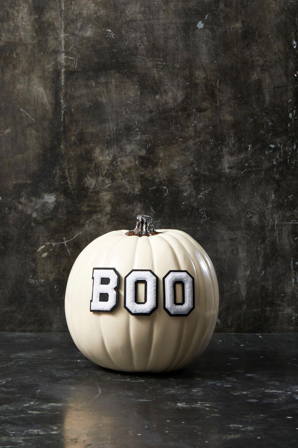 "<p>How's this for easy? Simply find letter stickers or patches that suit your style and stick or hot glue them to a painted pumpkin. You're done!</p><p><a class=""link rapid-noclick-resp"" href=""https://www.amazon.com/dp/B07HB15VNG/?tag=syn-yahoo-20&ascsubtag=%5Bartid%7C10055.g.1714%5Bsrc%7Cyahoo-us"" rel=""nofollow noopener"" target=""_blank"" data-ylk=""slk:SHOP LETTERS"">SHOP LETTERS</a></p><p><strong>RELATED:</strong> <a href=""https://www.goodhousekeeping.com/holidays/halloween-ideas/g421/halloween-decorating-ideas/"" rel=""nofollow noopener"" target=""_blank"" data-ylk=""slk:60+ Easy and Spooky Halloween Decorations for Fall"" class=""link rapid-noclick-resp"">60+ Easy and Spooky Halloween Decorations for Fall</a></p>"
