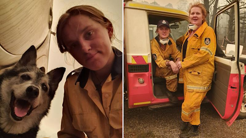 Siobhan Threlfall with her mum in their volunteer fire fighting gear