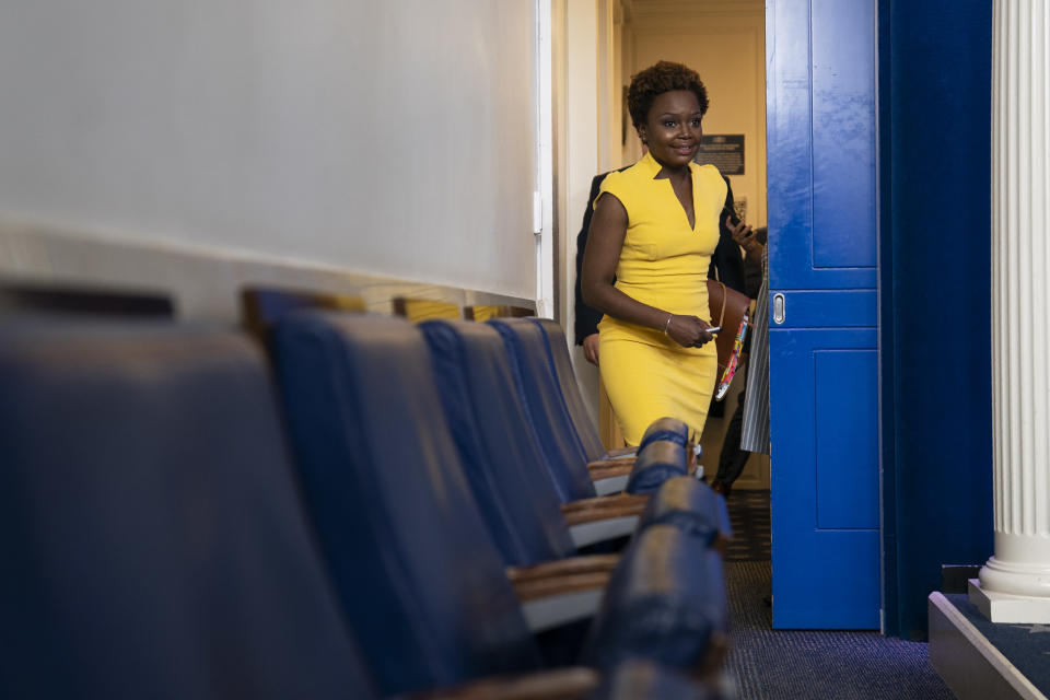 White House deputy press secretary Karine Jean-Pierre arrives for a press briefing at the White House, Wednesday, May 26, 2021, in Washington. (AP Photo/Evan Vucci)