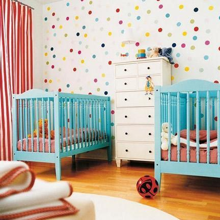 """<div class=""""caption-credit""""> Photo by: The Bump</div><div class=""""caption-title"""">Colorful Polka Dots</div>I love this nursery for two, with a whole wall decked out in colorful polka dots. This fun, cheerful print makes for a spirited living space! <br> <b><i><a href=""""http://www.babble.com/crafts-activities/seeing-spots-awesome-polka-dot-walls/?cmp=ELP bbl lp YahooShine Main  011413  seeingspots10awesomepolkadotwalls famE   """" rel=""""nofollow noopener"""" target=""""_blank"""" data-ylk=""""slk:For 3 more fun ways to use polka dots in your home decor, visit Babble!"""" class=""""link rapid-noclick-resp"""">For 3 more fun ways to use polka dots in your home decor, visit Babble!</a></i></b>"""
