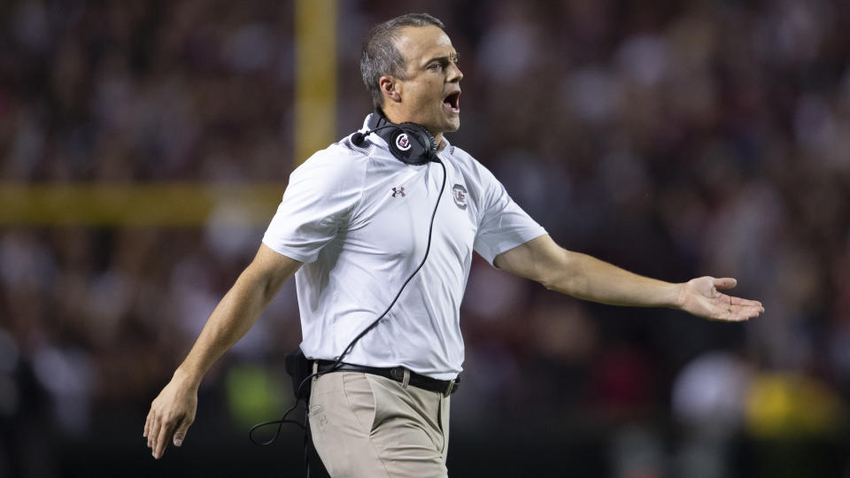 South Carolina head coach Shane Beamer yells at his players during the second half of an NCAA college football game against Kentucky, Saturday, Sept. 25, 2021, at Williams-Brice Stadium in Columbia, S.C. (AP Photo/Hakim Wright Sr.)