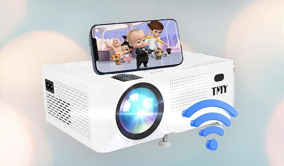 You provide the wall, the TMY V58 projector will splash a big 1080p image on it.