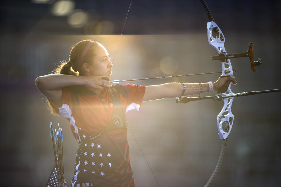 <p>TOKYO, JAPAN - JULY 28: Jennifer Mucino-Fernandez of Team United States competes in the archery Women's Individual 1/32 Eliminations on day five of the Tokyo 2020 Olympic Games at Yumenoshima Park Archery Field on July 28, 2021 in Tokyo, Japan. (Photo by Justin Setterfield/Getty Images)</p>