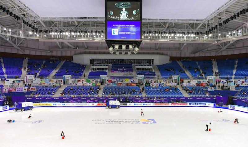 Inside the Gangneung Ice Arena in South Korea, where the 2018 Winter Olympic figure skating events are held.