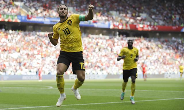 Belgium's Eden Hazard celebrates scoring his side's fourth goal against Tunisia, watched by Romelu Lukaku, who also scored twice.