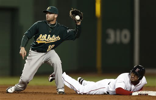 Boston Red Sox's Shane Victorino gets back to second base safely after an error on a fielders choice by Oakland Athletics second baseman Andy Parrino, holding the ball, during the fifth inning of a baseball game at Fenway Park in Boston on Monday, April 22, 2013. (AP Photo/Winslow Townson)
