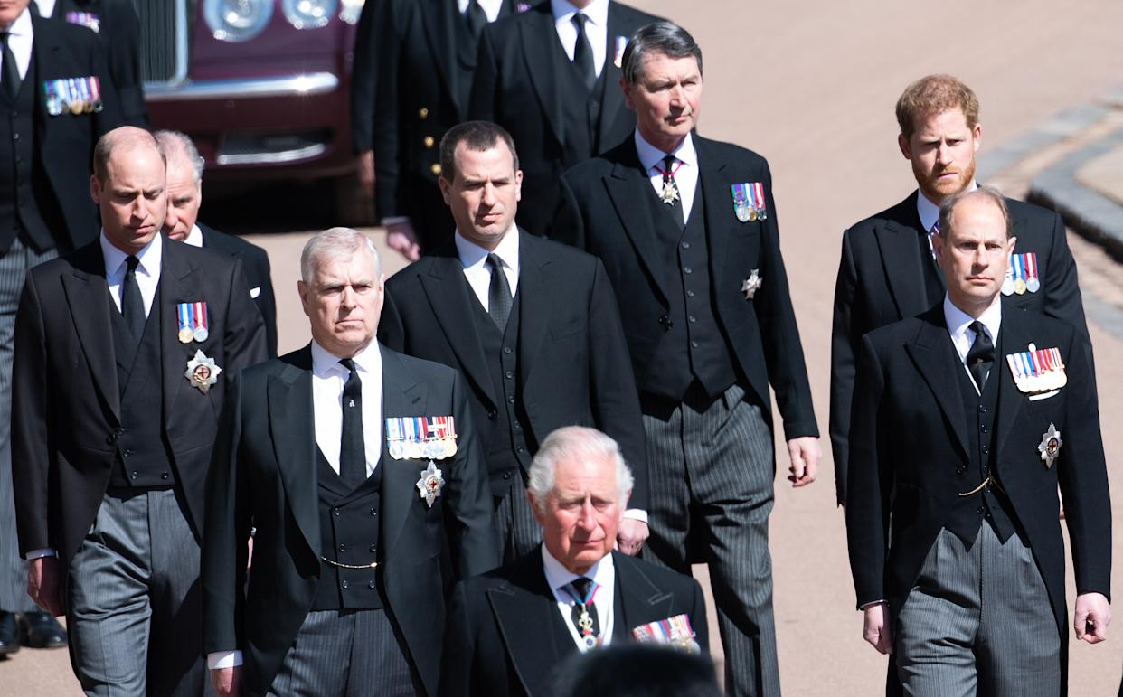 WINDSOR, ENGLAND - APRIL 17: Prince Charles, Prince of Wales, Prince Andrew, Duke of York, Prince Edward, Earl of Wessex, Prince William, Duke of Cambridge, Peter Phillips, Prince Harry, Duke of Sussex, Earl of Snowdon David Armstrong-Jones and Vice-Admiral Sir Timothy Laurence, during the funeral of Prince Philip, Duke of Edinburgh on April 17, 2021 in Windsor, England.   Prince Philip of Greece and Denmark was born 10 June 1921, in Greece. He served in the British Royal Navy and fought in WWII. He married the then Princess Elizabeth on 20 November 1947 and was created Duke of Edinburgh, Earl of Merioneth, and Baron Greenwich by King VI. He served as Prince Consort to Queen Elizabeth II until his death on April 9 2021, months short of his 100th birthday. His funeral takes place today at Windsor Castle with only 30 guests invited due to Coronavirus pandemic restrictions. (Photo by Pool/Samir Hussein/WireImage)