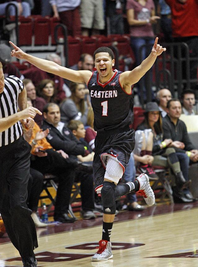 Eastern Washington guard Tyler Harvey(1) celebrates in the closing seconds of an NCAA college basketball game against Montana in the Championship of Big Sky Conference tournament in Missoula, Mont., Saturday, March 14, 2015. Eastern Washington won 69-65. (AP Photos/Michael Albans)
