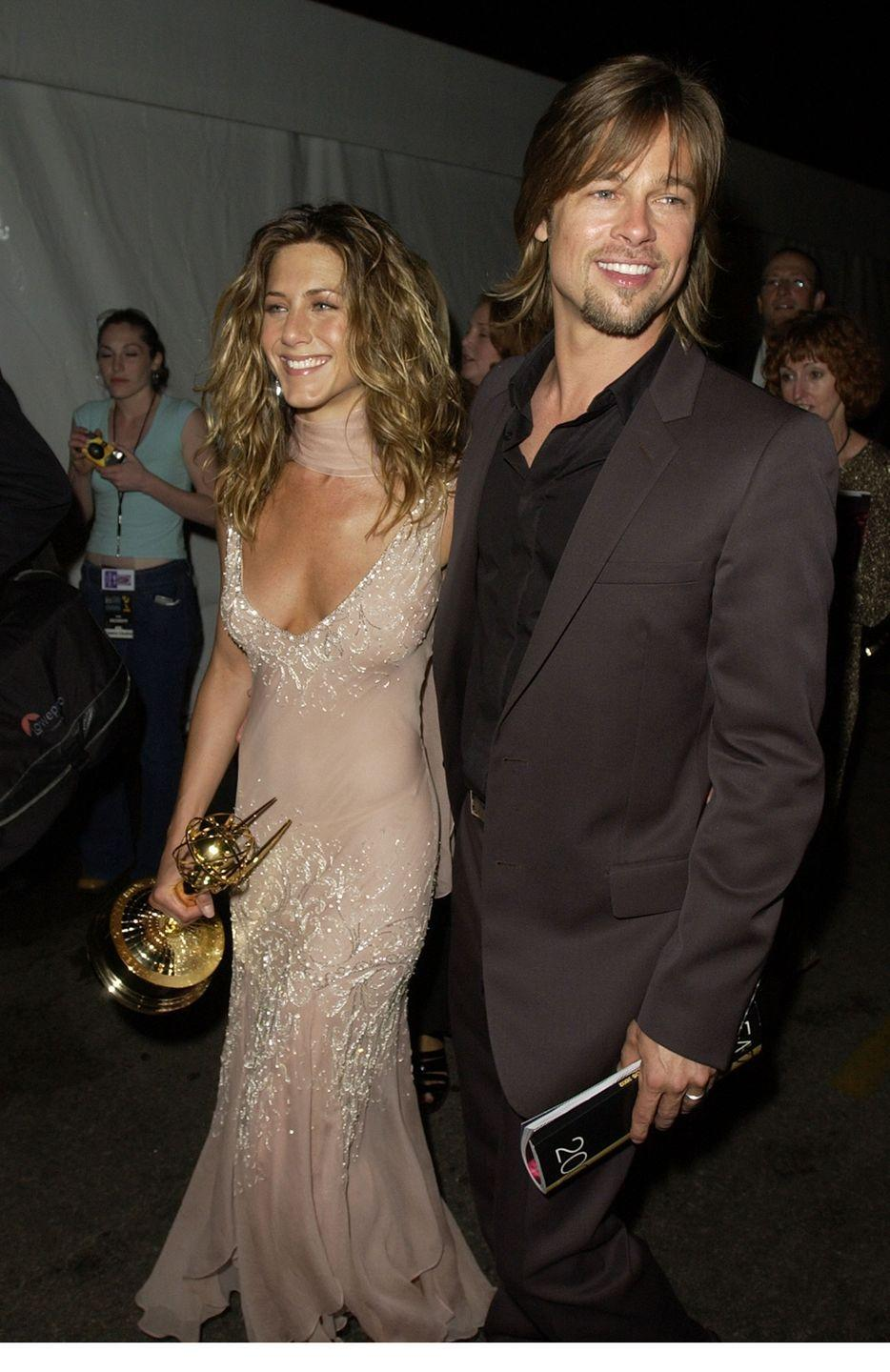 <p>It was all smiles for Pitt and Aniston at the 54th Primetime Emmy Awards, where Aniston won the award for Best Lead Actress in a Comedy Series. </p>