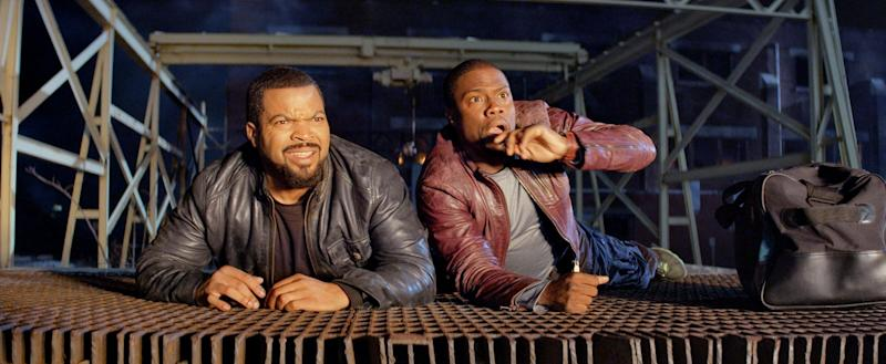 "This image released by Universal Pictures shows Ice Cube, left, and Kevin Hart in a scene from ""Ride Along."" (AP Photo/Universal Pictures)"