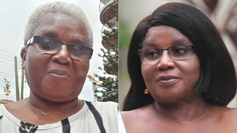 Elizabeth Ohene - left with grey hair, right with long black hair