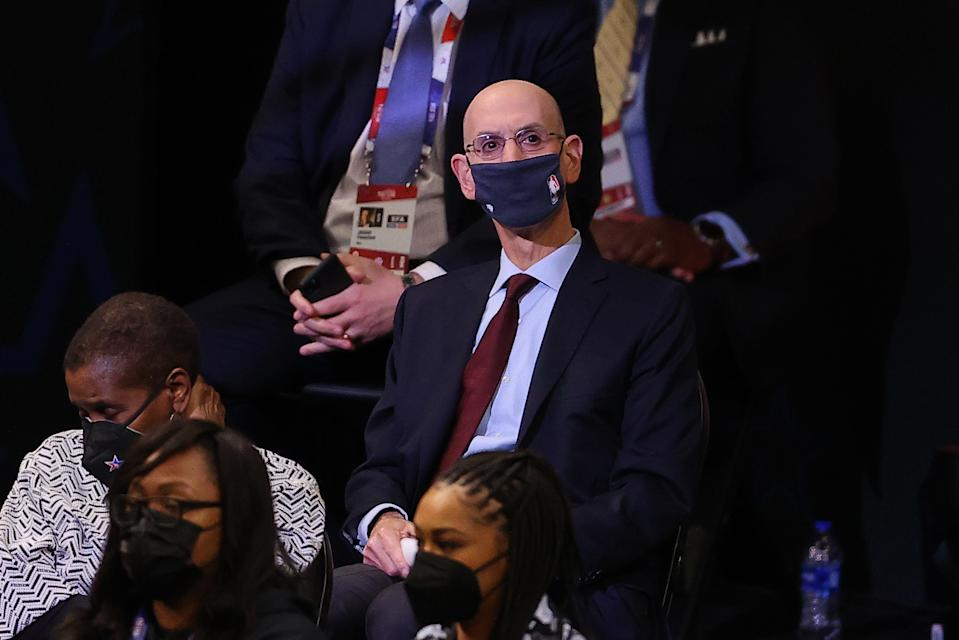 Adam Silver Commissioner of the NBA looks on during the second half in the 70th NBA All-Star Game at State Farm Arena on March 07, 2021 in Atlanta, Georgia.