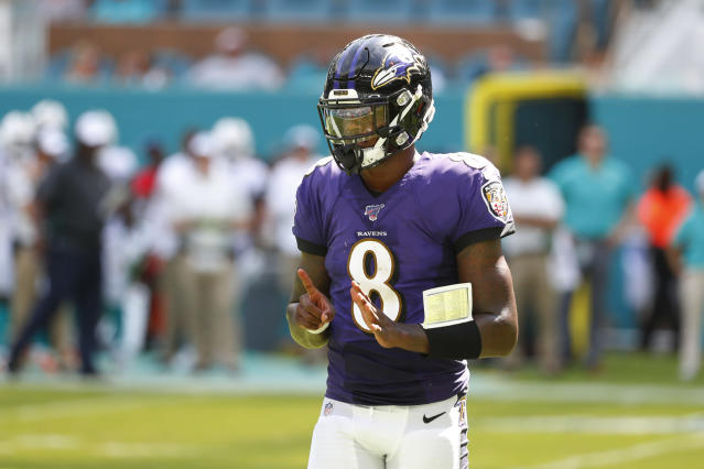 Baltimore Ravens quarterback Lamar Jackson had a huge day against the Dolphins. (AP)