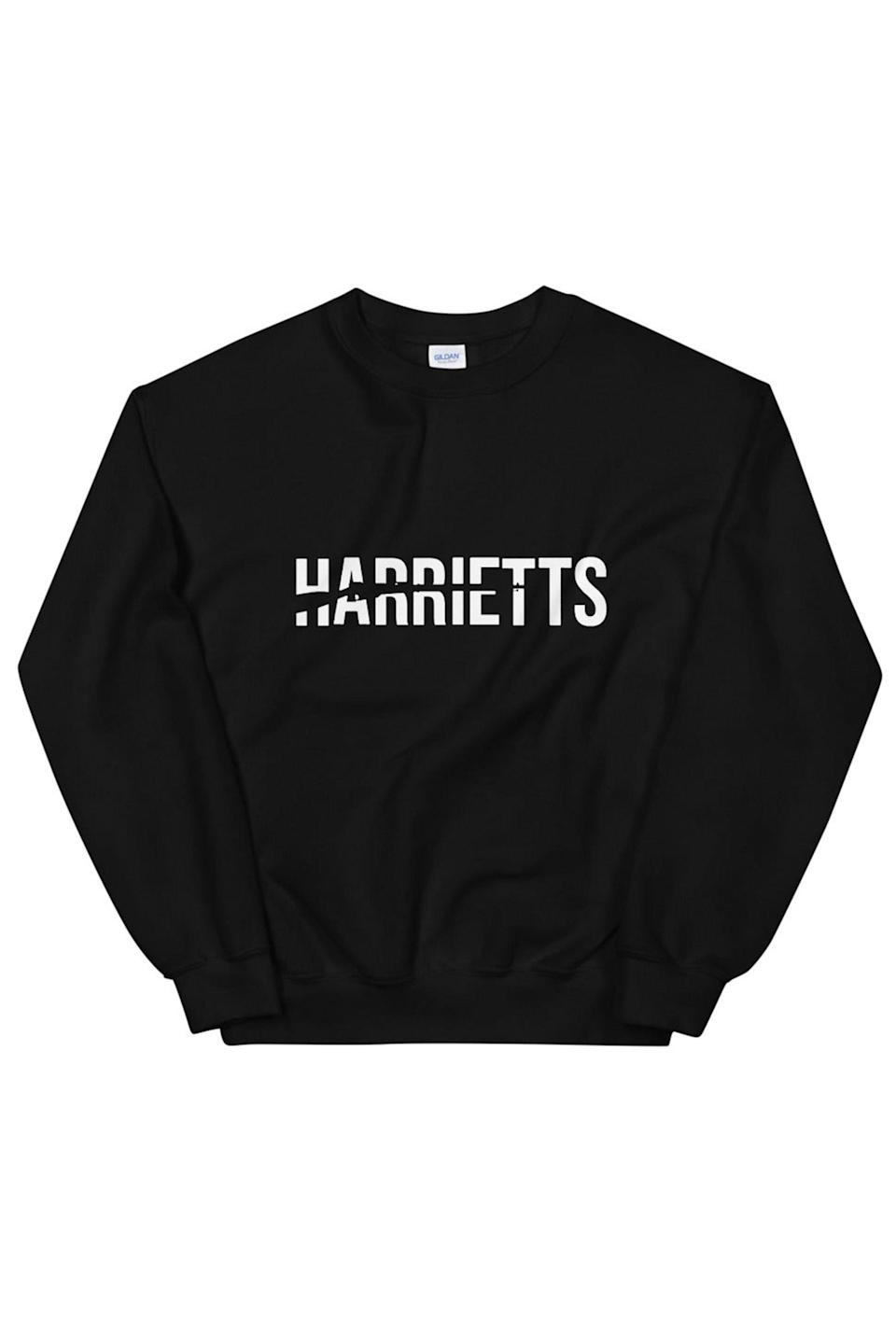 """<p><strong>Harriett's </strong></p><p>bigcartel.com</p><p><strong>$40.00</strong></p><p><a href=""""https://conversationswithharriett.bigcartel.com/product/harriett-s-sweatshirt"""" rel=""""nofollow noopener"""" target=""""_blank"""" data-ylk=""""slk:Shop Now"""" class=""""link rapid-noclick-resp"""">Shop Now</a></p><p>Try gifting merch from their fave bookshop. </p>"""