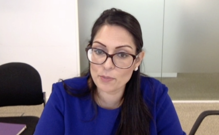 Priti Patel at the home affairs committee on Wednesday. (Parliamentlive.tv)