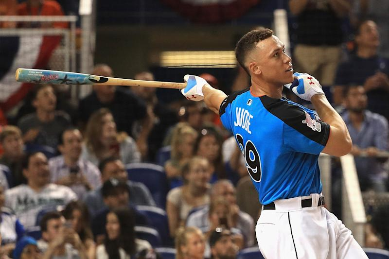 Aaron Judge #99 of the New York Yankees competes in the final round of the T-Mobile Home Run Derby at Marlins Park on July 10, 2017 in Miami, Florida.