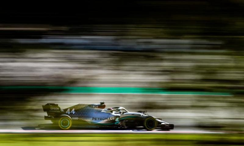 Lewis Hamilton in his Mercedes W11 during a testing session in February at the at Circuit de Barcelona.
