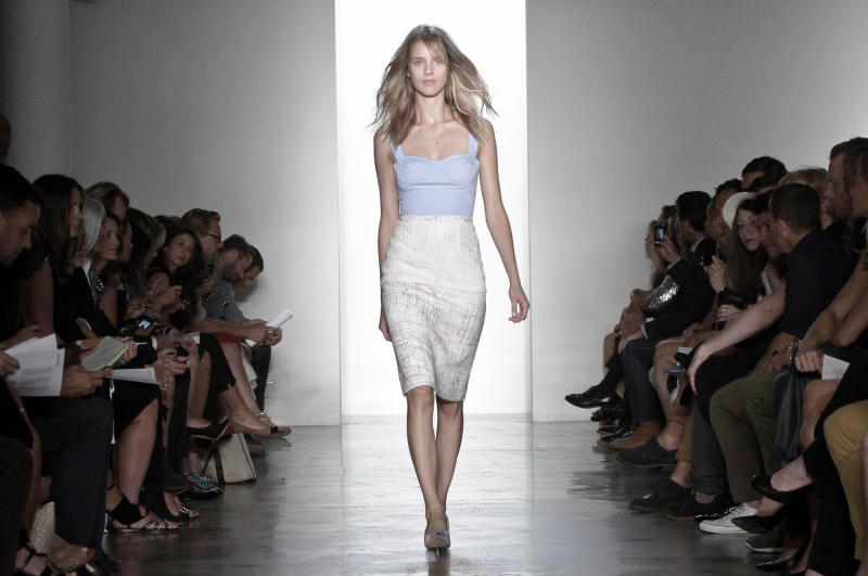 Fashion from the Spring 2013 collection of Peter Som is modeled on Friday, Sept. 7, 2012 in New York. (AP Photo/Bebeto Matthews)
