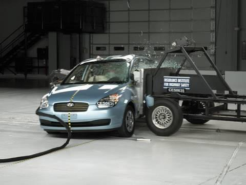 """<p>The third-generation Hyundai Accent, or Kia Rio, which shares the platform, was an affordable compact available in both sedan and hatchback body styles. During IIHS side-impact testing, the Accent received a Poor rating despite having front- and rear-curtain airbags and front-torso airbags. This test showed that in the case of a side impact, it would actually be safer to be sitting in the back seat. The Accent's rear passenger space received a Good rating, but things didn't go so well for the dummy behind the wheel. Driver torso, leg, and pelvis were the most susceptible to severe injury from this test, likely due to how far the door and structures around it collapsed into the car. These ratings remained the same until the 2012 Accent arrived, but the new car only managed an Average rating during the same test and returned a Poor rating for its small overlap front test.</p><p><a href=""""https://www.youtube.com/watch?v=sCyZVq2O9zE"""" rel=""""nofollow noopener"""" target=""""_blank"""" data-ylk=""""slk:See the original post on Youtube"""" class=""""link rapid-noclick-resp"""">See the original post on Youtube</a></p>"""