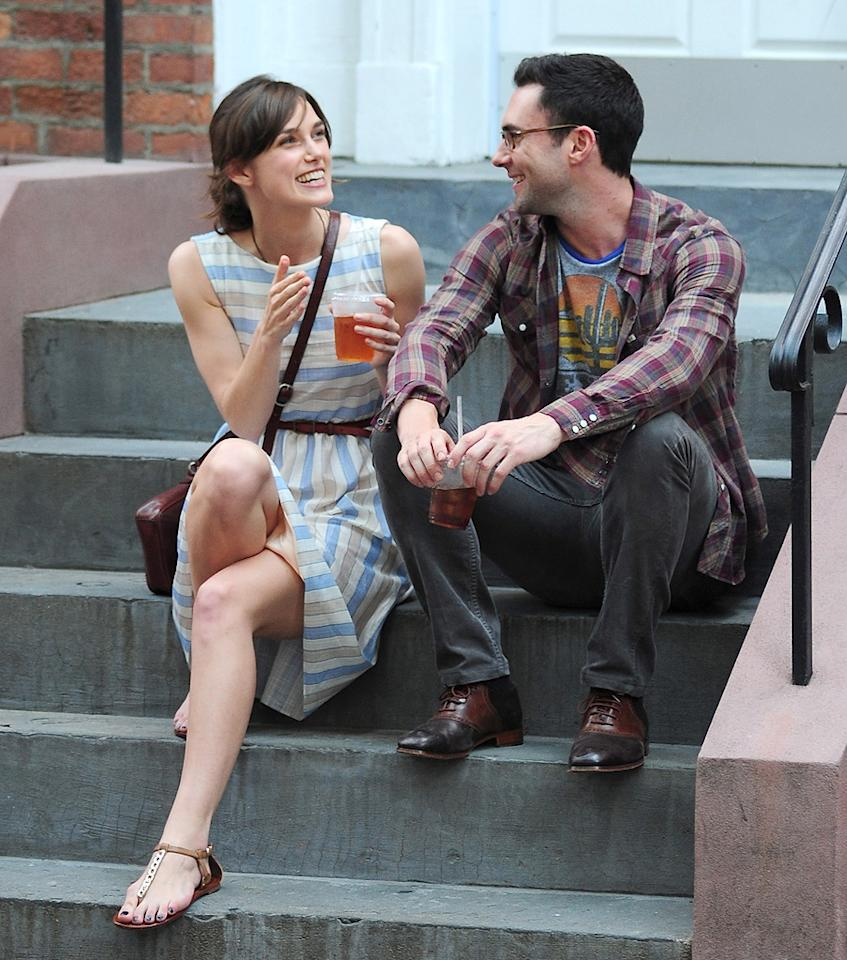 """Keira Knightley and Adam Levine are seen on the set of """"Can a song save your life?'' at Streets of Manhattan on June 29, 2012 in New York City."""