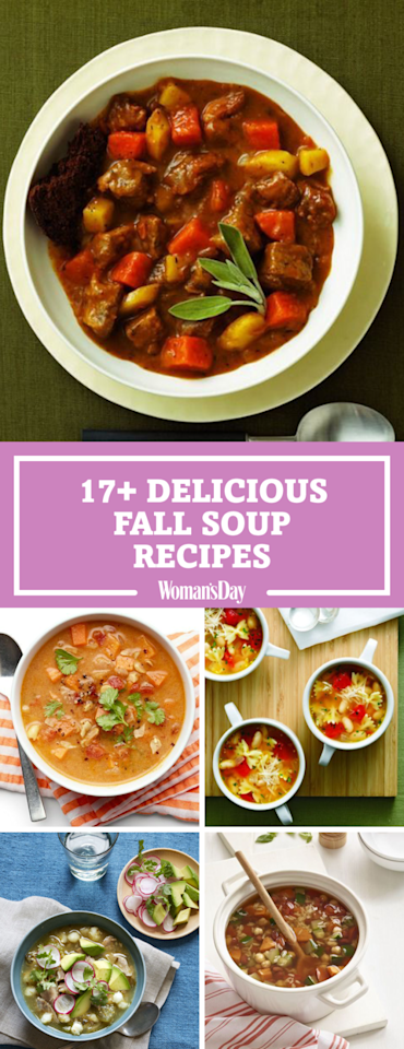 """<p>Save these great fall soup recipes for later! Don't forget to <a rel=""""nofollow"""" href=""""https://www.pinterest.com/womansday/"""">follow Woman's Day on Pinterest</a> for even more recipes.<span></span></p>"""