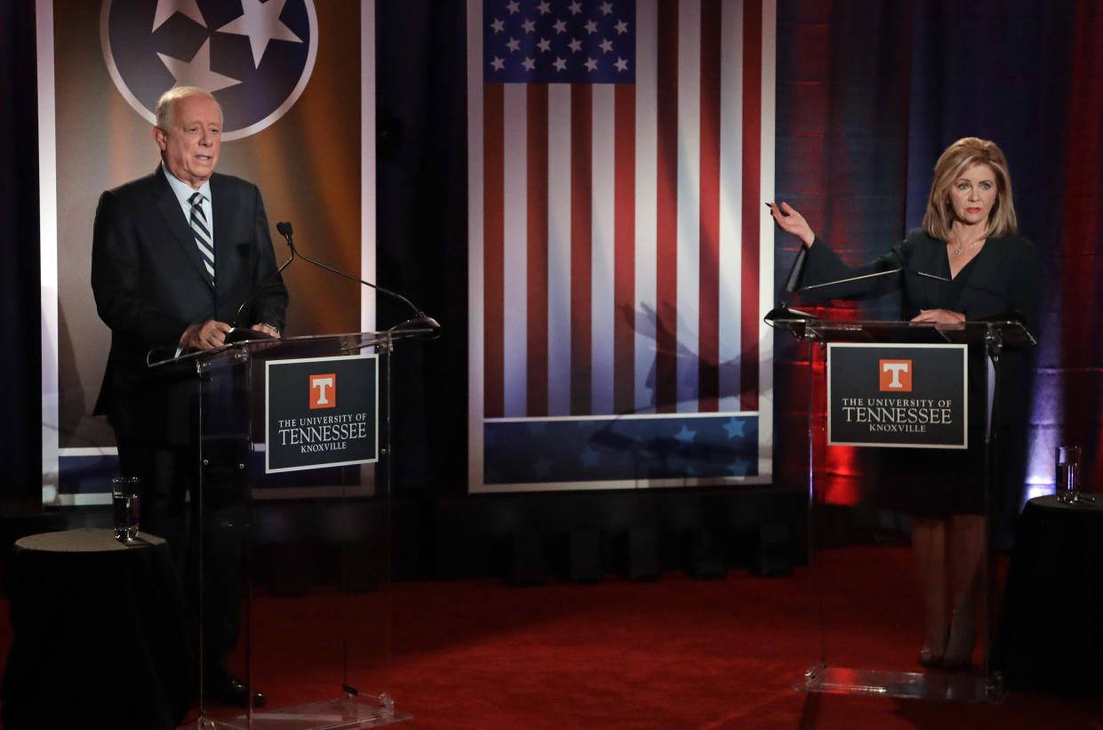 Republican U.S. Rep. Marsha Blackburn speaks during the 2018 Tennessee U.S. Senate Debate with Democratic candidate and former Gov. Phil Bredesen at the University of Tennessee on Oct. 10, 2018, in in Knoxville, Tenn. (Photo: Mark Humphrey, Pool/AP)