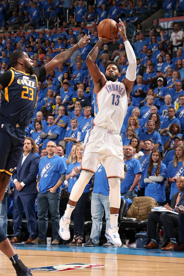 OKLAHOMA CITY, OK - APRIL 15: Paul George #13 of the Oklahoma City Thunder shoots the ball against the Utah Jazz during Game One of Round One of the 2018 NBA Playoffs on April 15, 2018 at Chesapeake Energy Arena in Oklahoma City, Oklahoma. (Photo by Layne Murdoch/NBAE via Getty Images)