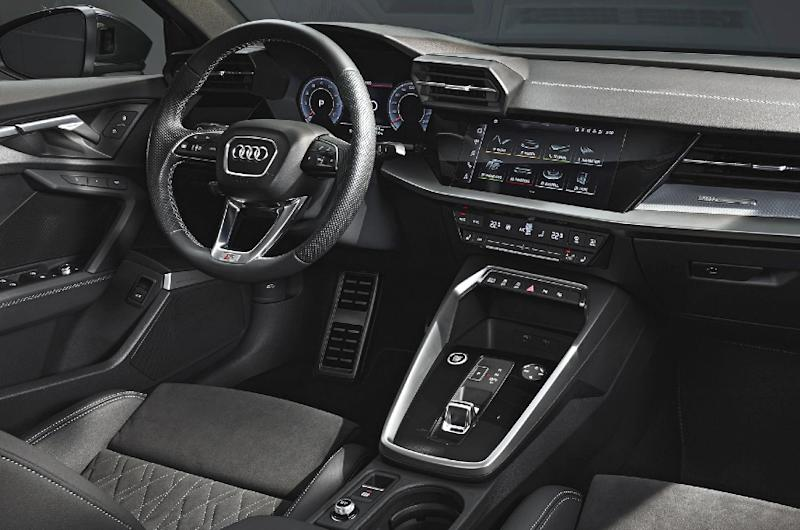 Asymmetric dash, high-set driver-side vents and multiple screens lend A3 cabin a youthful look.