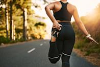 """<p>Before every workout, be sure to warm up and cool down. Here are <a href=""""https://www.popsugar.com/fitness/Should-I-Warm-Up-Before-Weightlifting-44988826"""" class=""""link rapid-noclick-resp"""" rel=""""nofollow noopener"""" target=""""_blank"""" data-ylk=""""slk:a dynamic warmup"""">a dynamic warmup</a> and <a href=""""https://www.popsugar.com/fitness/Stretching-Exercises-Entire-Body-42831538"""" class=""""link rapid-noclick-resp"""" rel=""""nofollow noopener"""" target=""""_blank"""" data-ylk=""""slk:a cooldown"""">a cooldown</a> I like.<br></p> <p>Use this handy guide to <a href=""""https://www.popsugar.com/fitness/How-Choose-Right-Weight-45658061"""" class=""""link rapid-noclick-resp"""" rel=""""nofollow noopener"""" target=""""_blank"""" data-ylk=""""slk:figure out how much weight you should be lifting"""">figure out how much weight you should be lifting</a>. You may need to use different weights depending on the exercise, but that's normal. Try not to take more than 60 seconds of rest in between each superset. </p> <h2>Monday: Strength Training</h2> <p><strong>Superset 1: Do four sets</strong></p> <ul> <li>Exercise 1: <a href=""""https://www.popsugar.com/fitness/photo-gallery/36282918/image/36283051/Circuit-One-Goblet-Squat"""" class=""""link rapid-noclick-resp"""" rel=""""nofollow noopener"""" target=""""_blank"""" data-ylk=""""slk:Goblet squat"""">Goblet squat</a>: 12 reps</li> <li>Exercise 2: <span>Lat pulldown</span> or <a href=""""https://www.popsugar.com/fitness/How-Do-Pull-Ups-45207658"""" class=""""link rapid-noclick-resp"""" rel=""""nofollow noopener"""" target=""""_blank"""" data-ylk=""""slk:pull-up"""">pull-up</a> (you can use the machine or a band): 12 reps for lat pulldown or five reps for pull-up</li> </ul> <p><strong>Superset 2: Do four sets</strong></p> <ul> <li>Exercise 1: <a href=""""https://www.popsugar.com/fitness/photo-gallery/36123288/image/36123774/Step-Ups"""" class=""""link rapid-noclick-resp"""" rel=""""nofollow noopener"""" target=""""_blank"""" data-ylk=""""slk:Step-up"""">Step-up</a>: 10 reps each leg (to make this more challenging, hold two five- to 10-pound dumbbells by your sides)</li> <li>Exercise"""