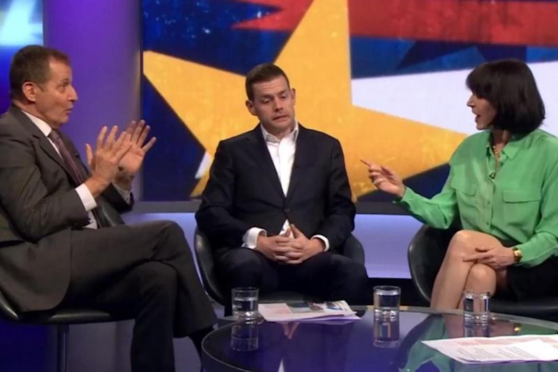 Jenni Russell, right, tells Alastair Campbell, left: 'Shut up' (BBC)