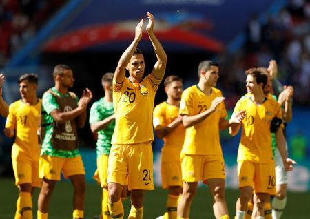 Soccer Football - World Cup - Group C - France vs Australia - Kazan Arena, Kazan, Russia - June 16, 2018 Australia's Trent Sainsbury applauds their fans after the match REUTERS/John Sibley