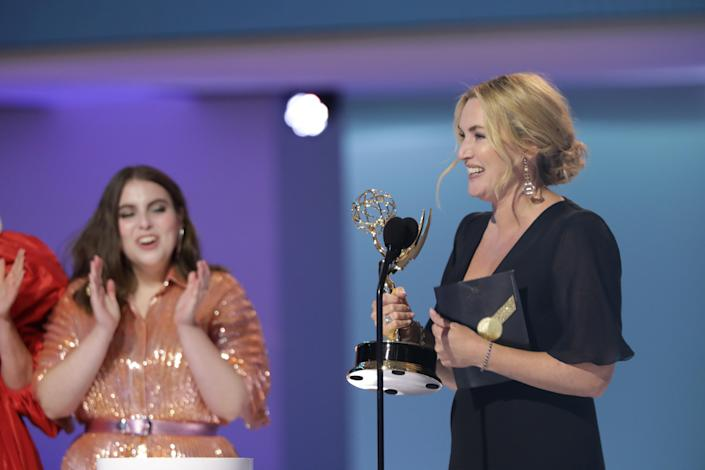 Kate Winslet wins an Emmy for 'Mare of Easttown' on Sept. 19, 2021.