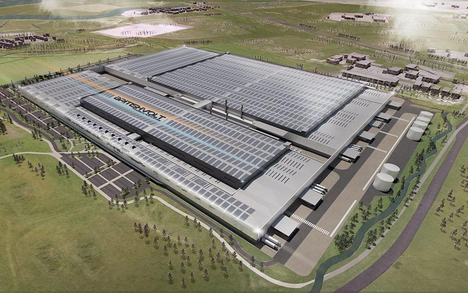 A render of what the Britishvolt gigafactory in Northumberland will eventually look like - Britishvolt