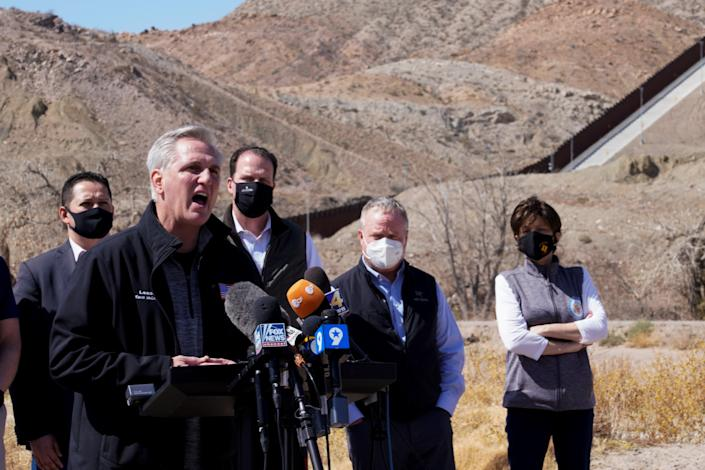 <p>House Minority Leader Kevin McCarthy speaks to the press during a tour for a delegation of Republican lawmakers of the US-Mexico border, in El Paso</p> (REUTERS)