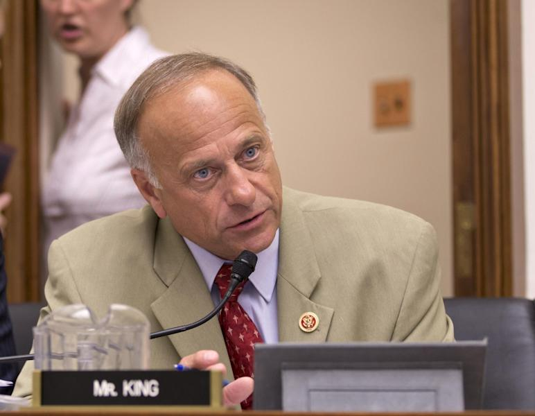 FILE - In this July 24, 2013 file photo, Rep. Steve King, R-Iowa speaks on Capitol Hill in Washington. During Congress' last attempt to remake the immigration system, in 2007, a public backlash helped kill the bill as angry calls overwhelmed the Senate switchboard. This summer other issues, notably President Barack Obama's health care law, seem to be topping the list of voters' concerns. Constituents opposed to citizenship for immigrants in this country illegally are loudly voicing their views at Republican House members' town hall meetings this month. But advocates of immigration legislation with a path to citizenship are having some success getting their supporters to show up, too, even in heavily Republican districts. (AP Photo/J. Scott Applewhite, File)
