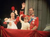 <p>Queen Elizabeth II, Prince Philip, Prince Andrew, and Prince Edward waving to the crowds from the balcony at Buckingham Palace, during the Trooping of the Colour in June 1964.</p>