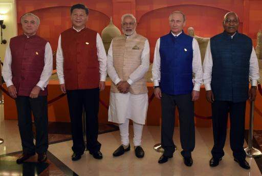 (From left) Brazilian President Michel Temer, Chinese President Xi Jingping, Indian PM Narendra Modi, Russian President Vladimir Putin and South African President Jacob Zuma in Goa on October 15, 2016