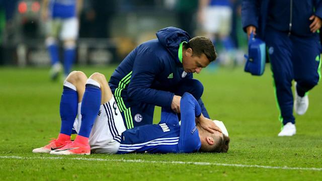 A collision with Ajax goalkeeper Andre Onana resulted in Schalke's Leon Goretzka being taken to hospital for examination.