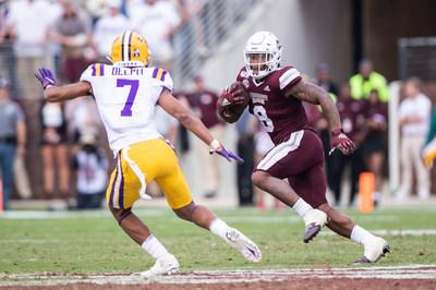 Mississippi State star running back Kylin Hill won the 2019 C Spire Conerly Trophy Tuesday night, awarded annually to the top college football player in Mississippi. Above, Hill in action earlier this season against No. 1 LSU - photo courtesy of Mississippi State Athletic Department
