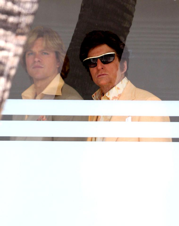 "<p class=""MsoNormal""><span>Matt Damon and Michael Douglas took a trip back to the '70s thanks to the retro wardrobes and groovy hairstyles they donned on Monday in Beverly Hills to shoot scenes for the HBO biopic ""Behind the Candelabra,"" which is slated to premiere next year. Douglas stars as the legendary pianist Liberace, while Damon plays his much younger boyfriend Scott Thorson, who wrote a tell-all book on which the film is based.(7/30/2012)</span></p>"
