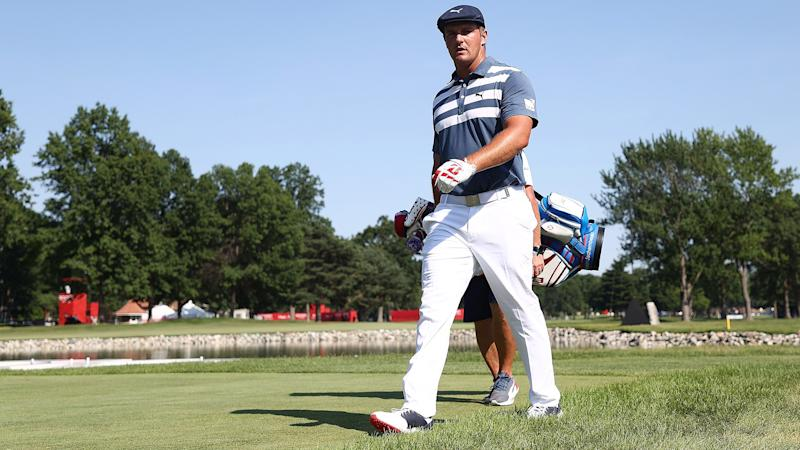 Bryson DeChambeau pummels a drive 423 yards at the Memorial Tournament