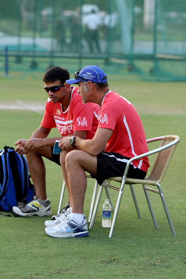 Rajasthan Royals' captain Rahul Dravid with coach Paddy Upton during a practice session at Sawai Mansingh Stadium in Jaipur on Sunday