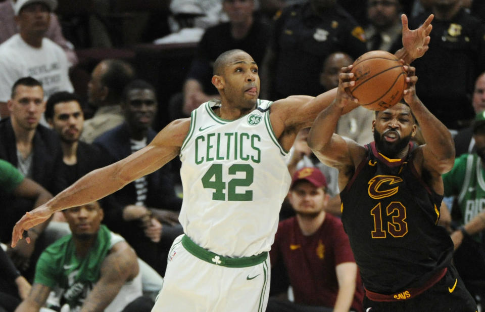 Tristan Thompson (R) and the Cavaliers have been a thorn in the side of Al Horford. (AP Photo)