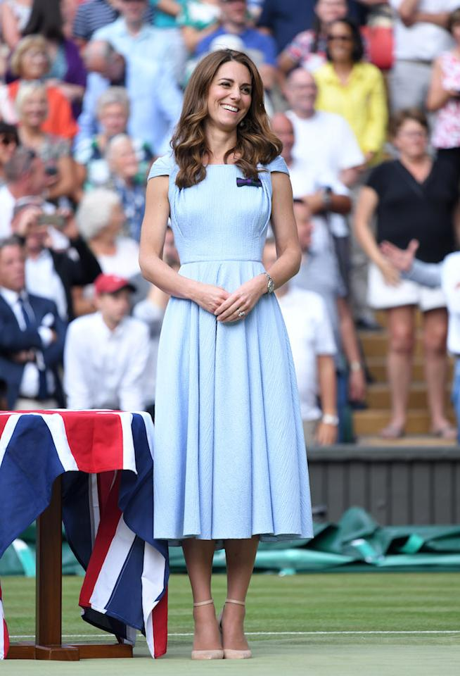 The Duchess of Cambridge chose a powder blue Emilia Wickstead midi dress to present the trophy. <em>[Photo: Getty]</em>
