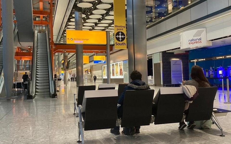 Of the few figures scattered throughout the terminal, the vast majority are staff